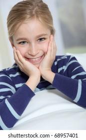 Portrait of ten-year-old blond girl