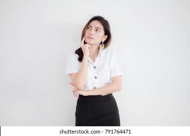 Portrait of thai adult student university uniform beautiful girl Think