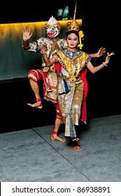 Portrait Thai Dancing Art ,Khon Thai Classical masked ballet in black background