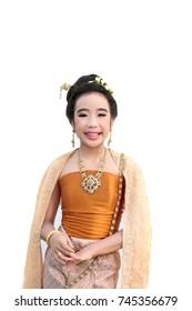 portrait of Thai girl in Thai ancient dress on white background.