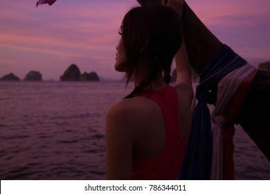 Portrait of a Thai girl by the seaside in Thailand