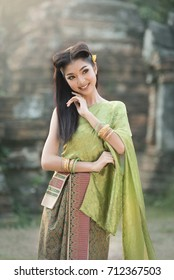 Portrait of Thai girl traditional dress