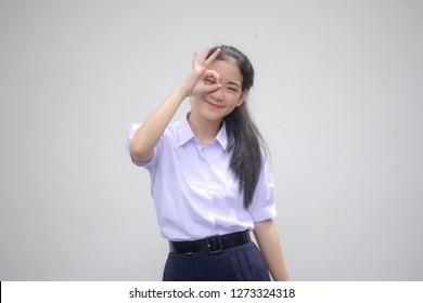 Portrait of thai high school student uniform beautiful girl ok