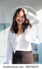 Portrait of thai teen beautiful girl relax and smile