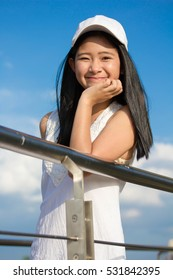 Portrait of thai teen beautiful girl happy and relax