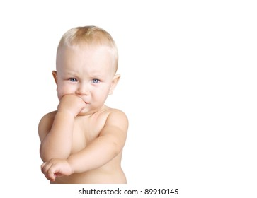 Portrait of thinking baby boy, isolated on white