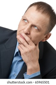 Portrait of a thinking businessman over white background