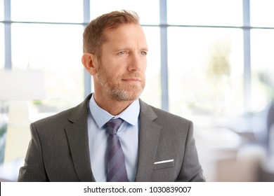 Portrait of thinking financial businessman looking away while standing at the office.