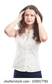 Portrait of thinking, tired or ill with headache woman, isolated over white background