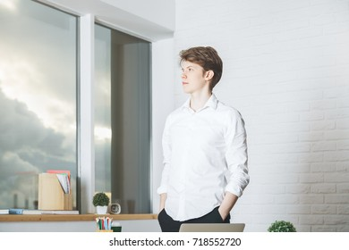 Portrait of thinking young businessman in modern office with panoramic blurry city view