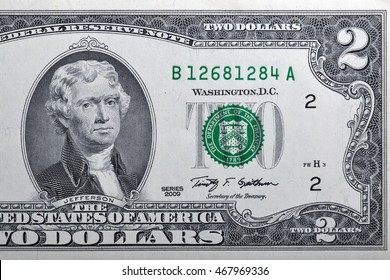 Portrait of the third US President Thomas Jefferson on two dollar banknote bill, front side obverse.