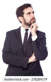 Portrait of a thoughtful business man, isolated on white background