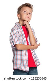 Portrait of thoughtful little boy isolated on white background