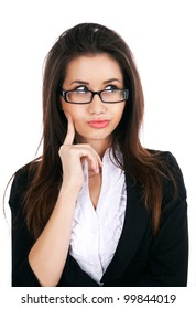 Portrait of thoughtful smart businesswoman in glasses on a white background