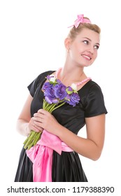 Portrait of thoughtful young woman posing with flowers. Isolated on white
