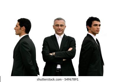 Portrait of three businessmen on white background