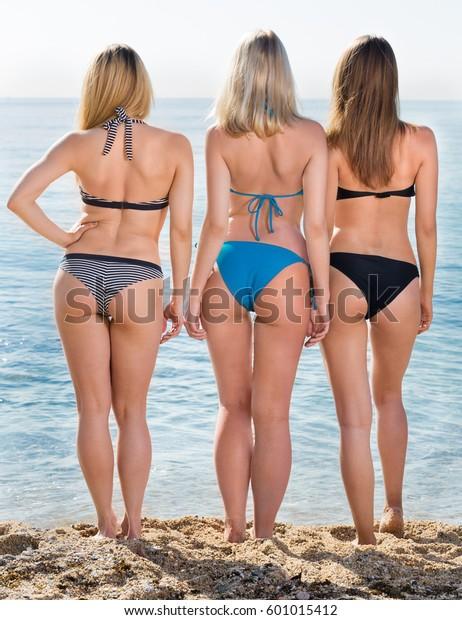 afa20b88e6e Portrait Three Cheerful Young Women Swimsuits Stock Photo (Edit Now ...