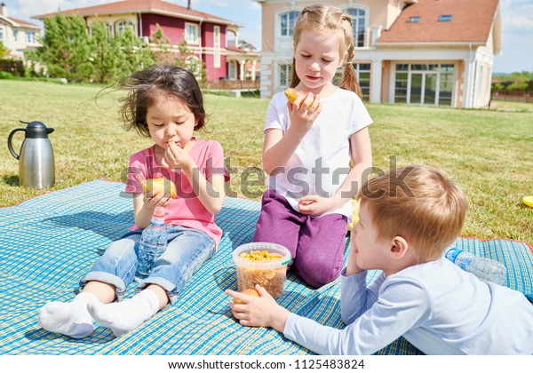 Portrait of three cute little children sitting on blanket having picnic on green lawn of front yard enjoying sunny Summer day outdoors