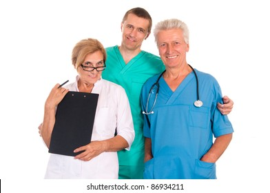 portrait of a three doctors on a white