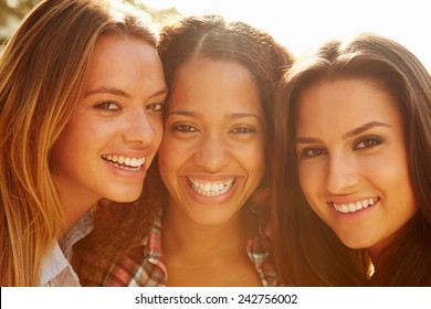 Portrait Of Three Female Friends On Holiday