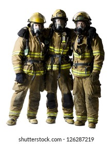Portrait of three firefighters standing together