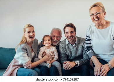 Portrait of a three generation family spending time together
