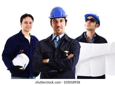 Portrait of three smiling engineers