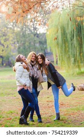 Portrait of three smiling female friends in park