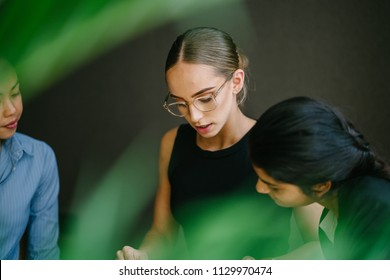 Portrait of three women in an intense discussion. They are a diverse team with a Caucasian, Chinese and Indian woman poring over a book. They are young, dynamic and attractive.