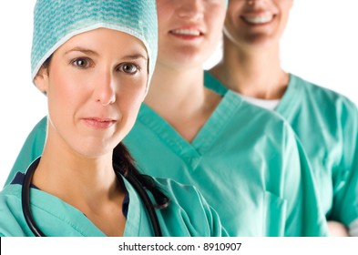 Portrait of three young and beautiful nurses