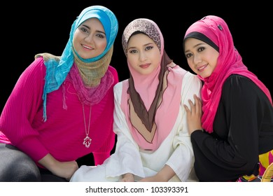 portrait of three young muslim girl