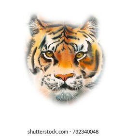 Portrait Tiger. Decoration with wildlife scene. Pattern from forest inhabitant. Watercolor hand drawn illustration.