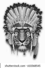 Portrait tiger with indian hat, hand drawn illustration, animal