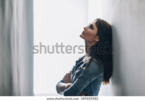 Portrait of tired beautiful woman. Depression