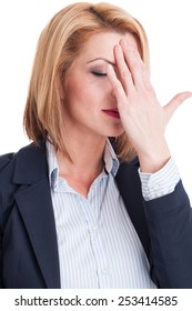 Portrait of a tired business woman touching her forehead on white background