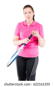 Portrait of tired with tennis racket in hand on a white background