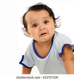 Portrait of toddler against white background