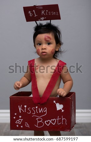 Portrait Toddler Boy Kissing Booth Costume Stock Photo Edit Now