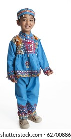 Portrait of a Toddler Dressed in Traditional Indian dance dress on white