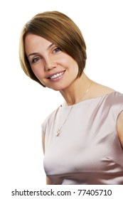 Portrait of toothy smiling Beautiful happy woman isolated