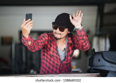 Portrait, Traveller selfie and smiling