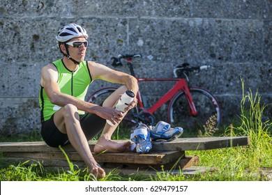 Portrait of triathlete after the race