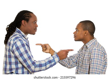 Portrait two angry guys pointing fingers at each other, blaming for problems, mistakes isolated white background. Interpersonal conflict resolution. Negative human emotions, facial expression, feeling