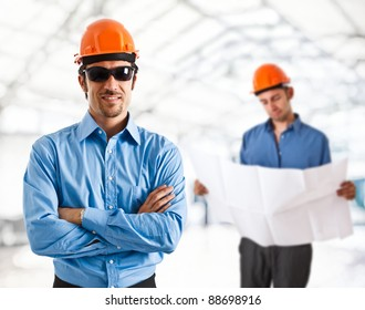 Portrait of two architects working together