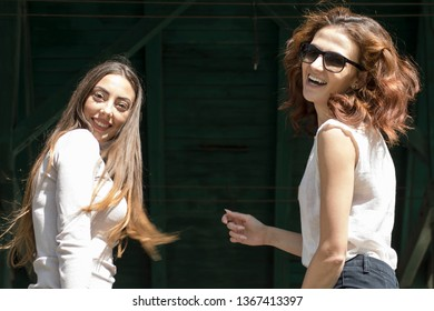 Portrait of Two attractive beautiful young woman
