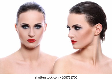 Portrait of two beautiful women over white background