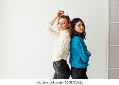 Portrait of two beautiful young fashionable female girlfriends together
