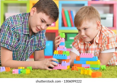 Portrait of two brothers playing with colorful plastic blocks in room