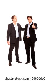 Portrait two business men working together, isolated on white