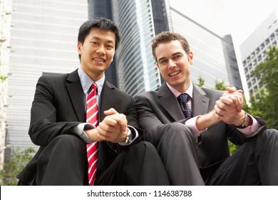 Portrait Of Two Businessmen Outside Office